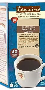 Teeccino Dandelion Mocha is a caffeine free low calorie dessert tea for weight loss.