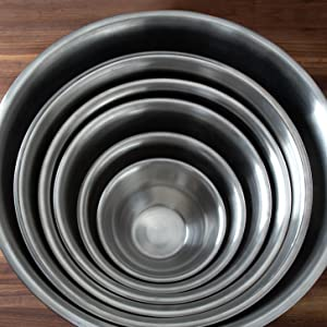 Fox Run stainless steel mixing bowls; available in 6 sizes; nest for easy storage