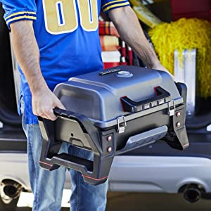 tailgating;grill;camp;camping;portable;table;top;tabletop;football;gas;charcoal;parking;lot;light