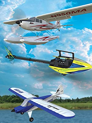 Screenshot of field and sky with three new Horizon Hobby aircraft additions flying in foreground