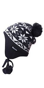Knitted Hat with Snowflake Pattern