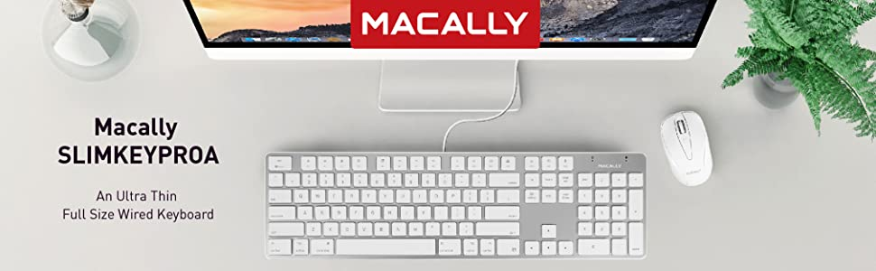 Slim wired keyboard full size apple keyboards replacements with aluminum mac silver finish