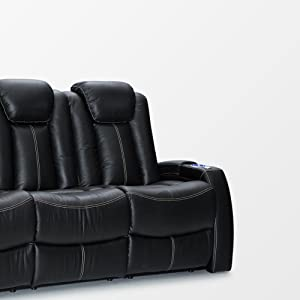 Seatcraft Republic Leather Home Theater Seating Power Recline - (Row of 3 Sofa w/Drop-Down Table, Black)