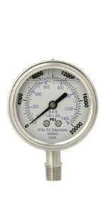 Dual Scale Glycerine Filled Pressure Gauge