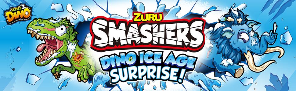 ZURU Smashers Dino Ice Age Surprise Over 25 Surprises Egg Frozen Mammoth New
