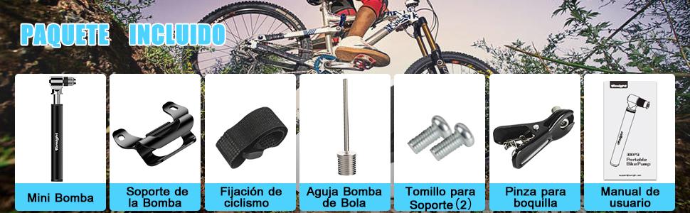 tomight Mini Bomba para Bicicleta,Bomba de Mano pequeña con Válvulas Presta y Schrader Portátil, Compacta, Duradera y Rápida con Alta Presión 300PSI para Carretera Bicicletas de Montaña,Pelota y BMX: Amazon.es: Deportes y