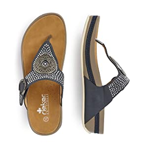 grau NEU Rieker Schuhe Zehentrenner V1460 62 beige