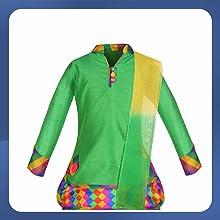 Aarika Girl's Cotton Silk Kurti, Patiala and Dupatta Set