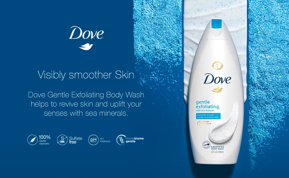 Amazon Com Dove Body Wash Instantly Reveals Visibly Smoother Skin Gentle Exfoliating With Sea Minerals Effectively Washes Away Bacteria While Nourishing Your Skin 22 Oz Bath And Shower Gels Beauty