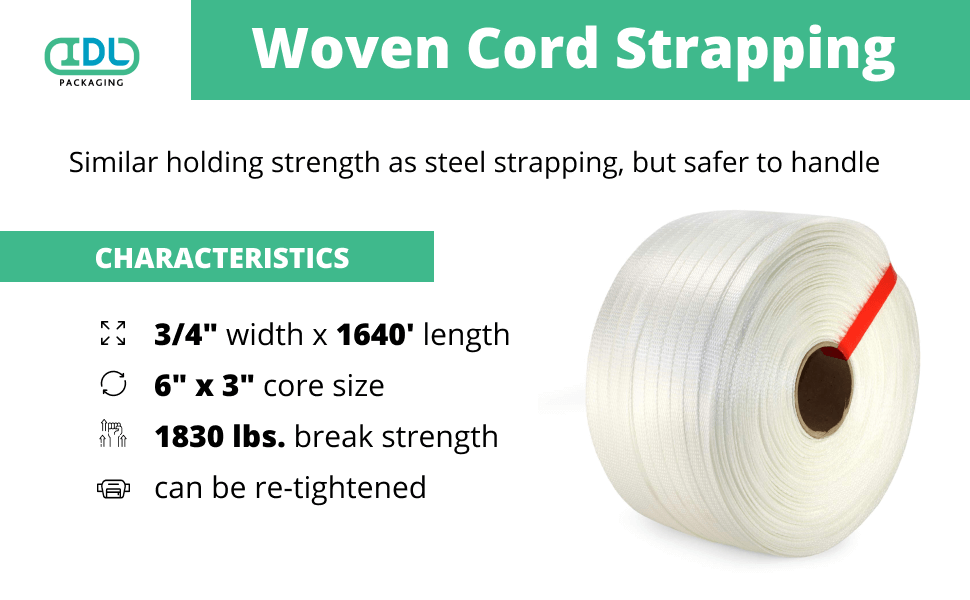 1830 lbs Break Strength Packaging Strapping Tool Kit for Heavy Duty Polyester Cord Strapping IDL Packaging 3//4 x 1640 Woven Cord Strapping Kit