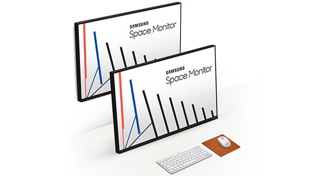 Angled view of Samsung The Space Monitor to show Zero-Level Height-Adjustable Arm Stand