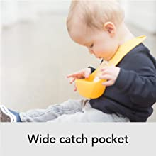 bib, wide, catch pocket, mess free, silicone, flexible, comfortable, adjustable, baby care, feeding