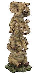 Design Toscano Éléphants Maléfiques Empilés Sourd, Muet, Aveugle Statue de Collection