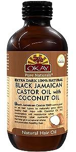 OKAY Extra Dark 100% Natural Black Jamaican Castor Oil With Coconut Oil  4 Oz
