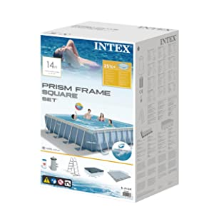 Intex 26764NP Piscina desmontable cuadrada, on depuradora, 427 x 427 x 107 cm
