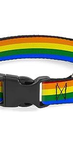 Gay Pride Rainbow Flag LGBTQ Collar Dog Pet Plastic Buckle Lesbian Trans Bi Sexual