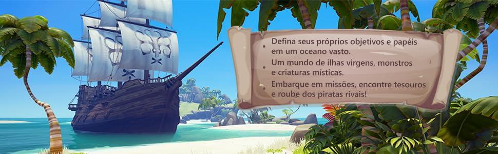 mundo ilhas virgens, monstros, piratas, desafios, missões, tesouros