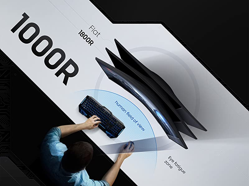 QHD SAMSUNG 27-Inch G5 Odyssey Gaming Monitor with 1000R Curved Screen 1ms LC27G55TQWNXZA 144Hz FreeSync Premium Black