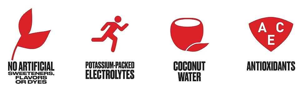 Coconut Water, Electrolytes, Fruit Punch, Mango, Low Calorie, Natural, Vitamins, Potassium, Tropical