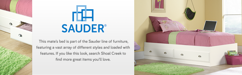 Sauder Shoal Creek Mate's Bed in a Soft White finish