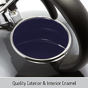 loop teakettle enamel on steel interior kitchen boiler stay cool handle design whistle ergonomic