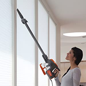 overhead cleaning, above floor cleaning, wand, hose
