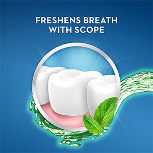 Freshens breath with scope