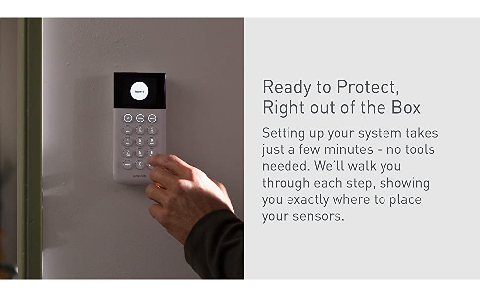 SimpliSafe, 5 piece, system, starter, base station, keypad, motion sensor, entry sensor, key fob,