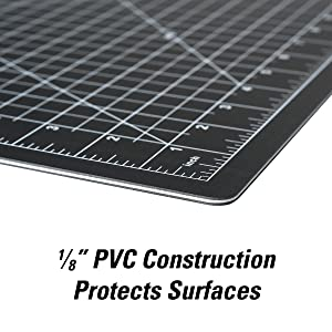 "Heavy duty self-healing cutting mat with 5-layer PVC, 1/8"" of superior work surface protection"