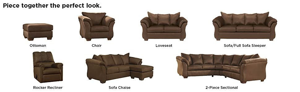 Marvelous Signature Design By Ashley Darcy Microfiber Loveseat Cafe Theyellowbook Wood Chair Design Ideas Theyellowbookinfo