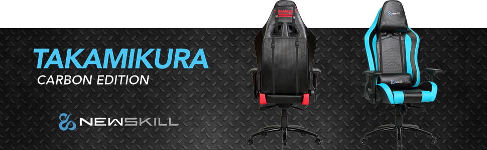 Newskill Takamikura Carbon - Silla gaming profesional (Piel efecto carbono, inclinación y altura regulable, reposabrazos ajustables, reclinable 180º), ...
