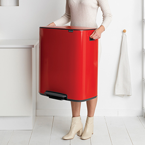 Rojo pasi/ón Brabantia Bo Cubo de Basura con Pedal 2x30L Acero