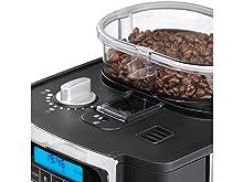 Cafetera de filtro electrónico con molinillo integrado y controles totalmente digitales.
