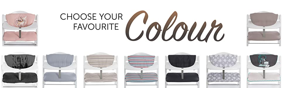 many colours and patterns comfortable sitting on wooden high chair