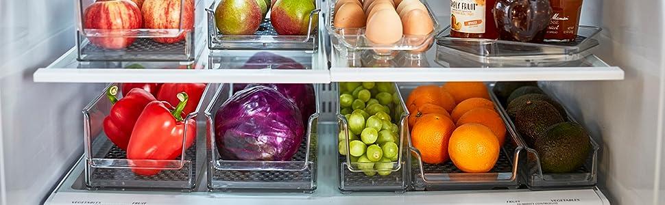 in fridge storage organization bins clear clean hexa