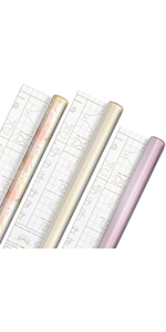 Rose and gold wrapping paper with DIY templates for handmade gift bows for bridal showers and babies