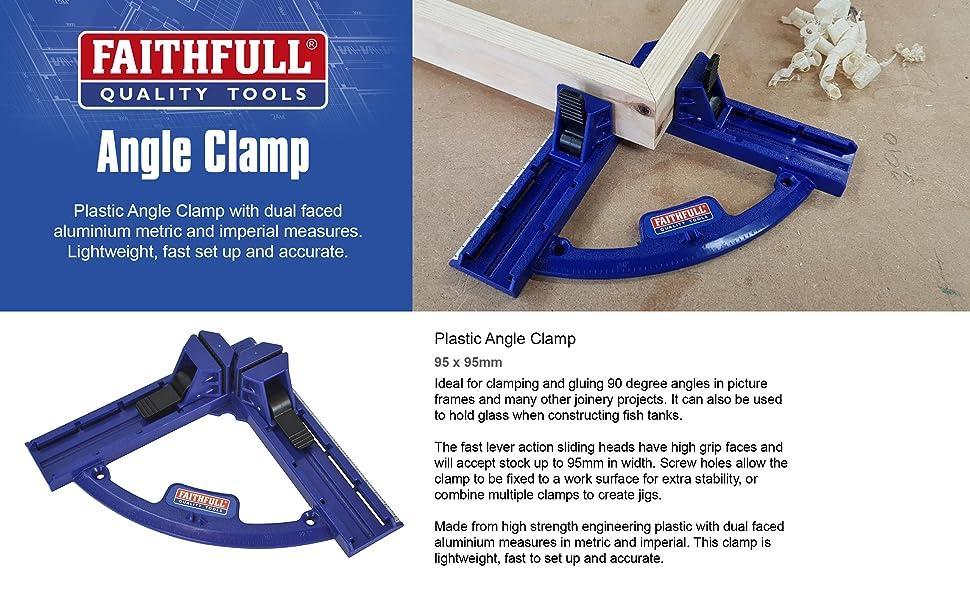 Faithfull PAC9595 Plastic Angle Clamp 95 x 95mm Multi-Colour 1