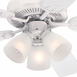 Light fixture includes 3 frosted ribbed glass shades and 3 LED light bulbs.