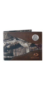 Mossy Oak nylon and leather bi-fold wallet