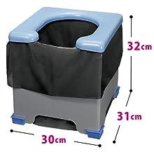 サンコー 携帯 非常用 簡易トイレ 防災グッズ 排泄処理袋 凝固剤付 30×31×32cm 耐荷重120kg 日本製 R-39 ポータブルトイレ レジャー 災害 断水 軽量 120 男女兼用