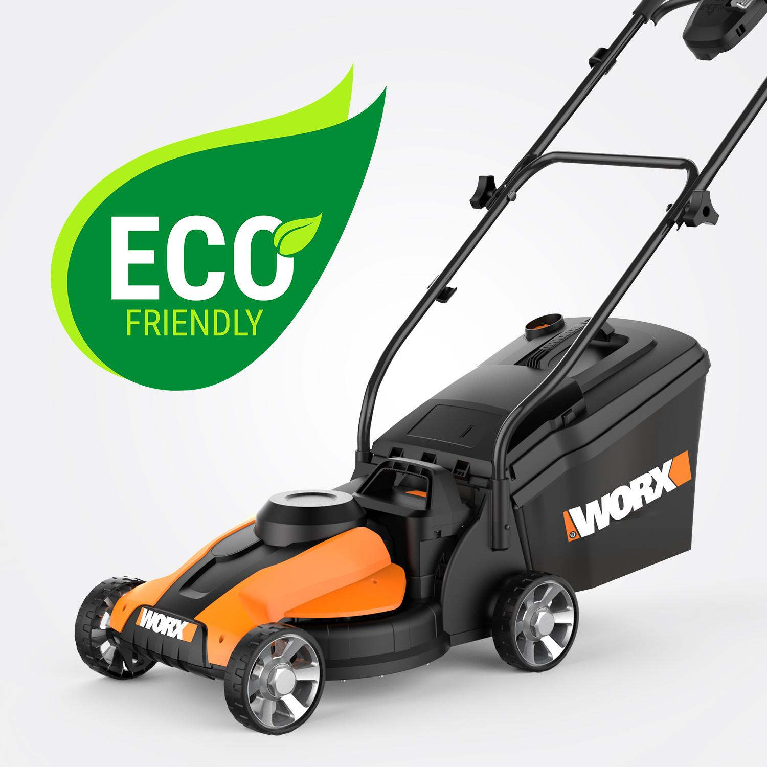 worx 14 inch 24 volt cordless lawn mower with. Black Bedroom Furniture Sets. Home Design Ideas