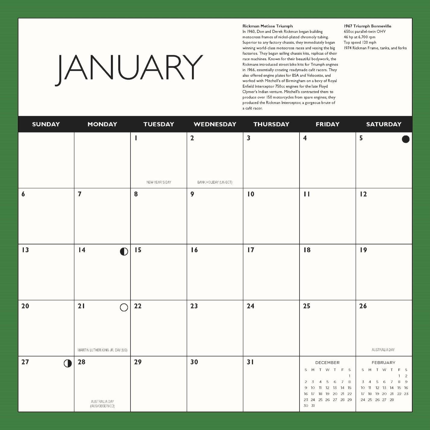 Calendar For 2019-16 Cafe Racers 2019: 16 Month Calendar September 2018 Through