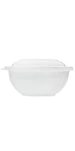 Karat FP-BR32-Combo 32 oz Round PET Salad Bowls with Lids