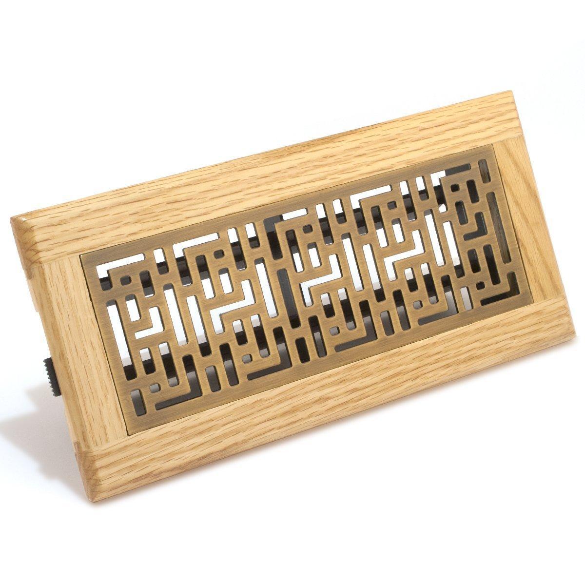 Accord gfoab410 oak frame floor register with forte design for Wood floor register 8 x 10