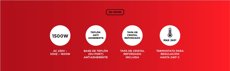 SOGO SS-10095 - Paellera, Sartén Eléctrica, Pizza Pan, Cazuela Multiuso con Tapa Cristal, Diámetro 36cm, Profundidad 7cm, 1500W, Base Antiadherente, ...