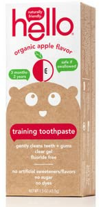 Toddler, training toothpaste, natural, hello, apple flavor