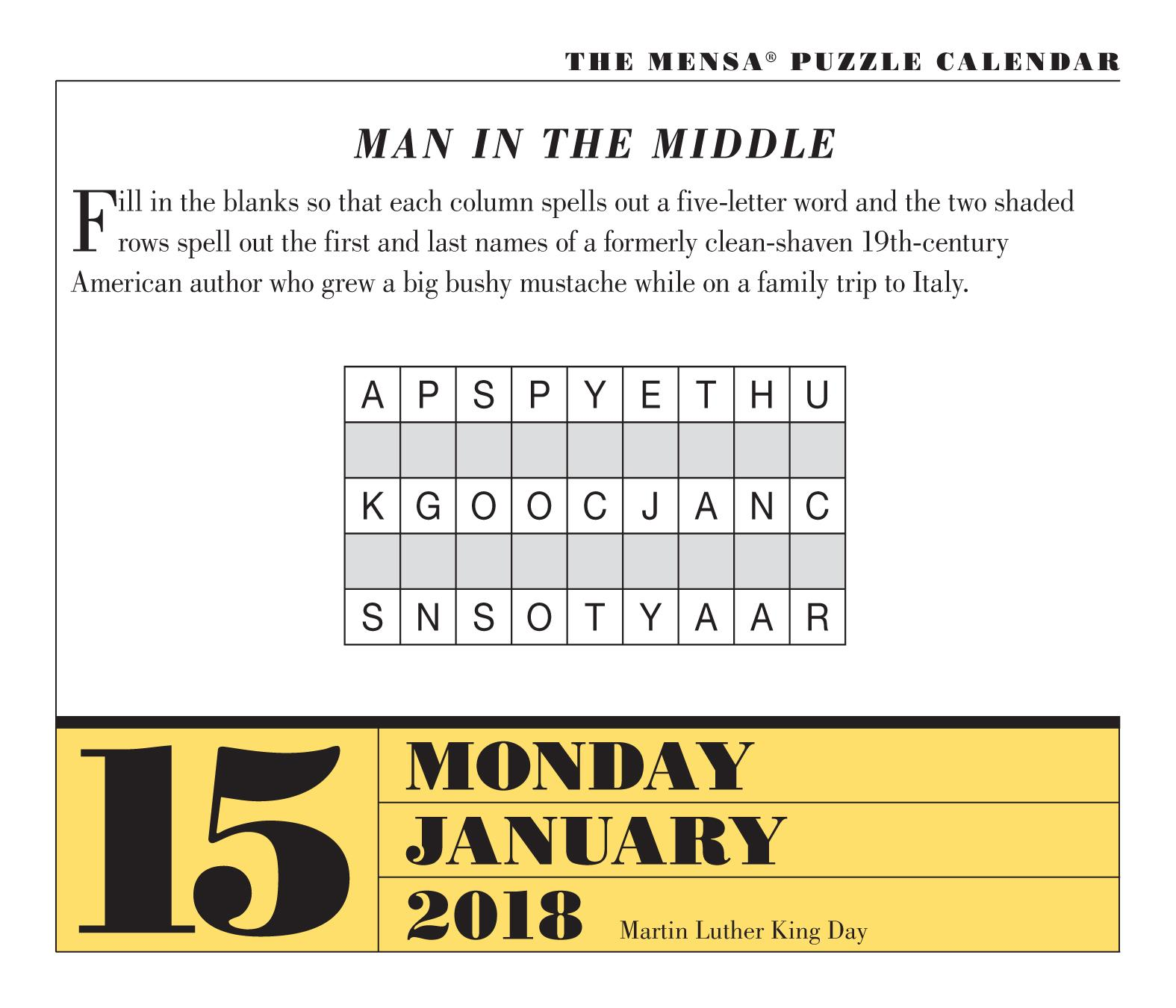 word of the day calendar 2018