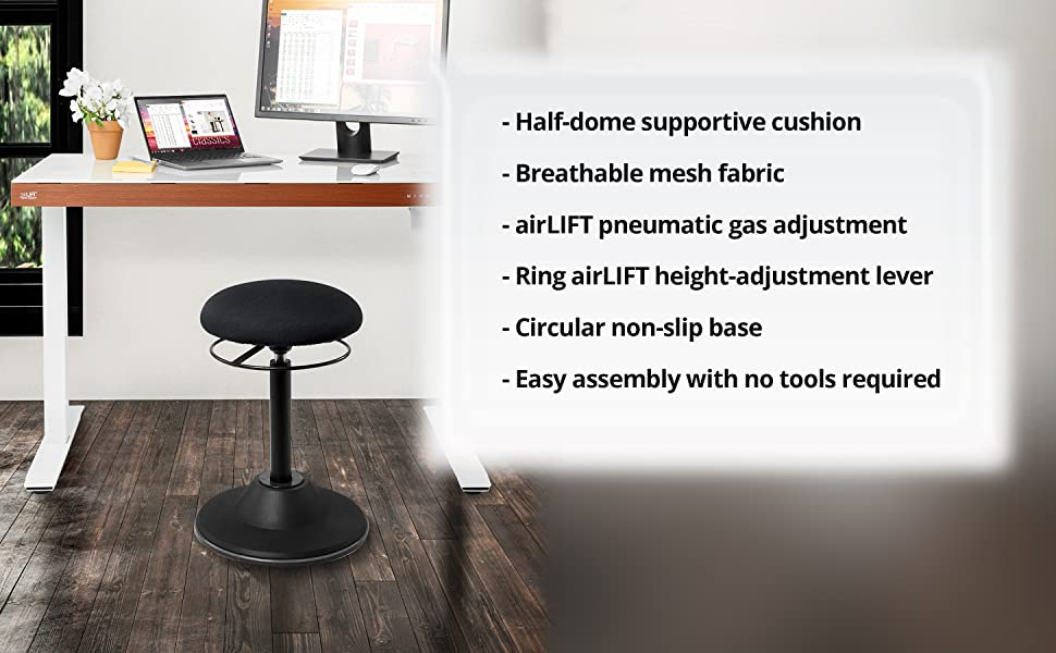 Final Image of Seville Classics airLIFT 360 Wobble Sit-Stand Adjustable Ergonomic Active Balance