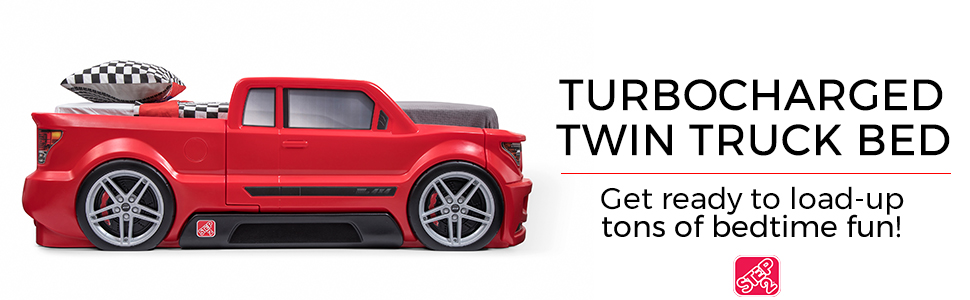 step2 turbocharged pickup truck themed twin bed