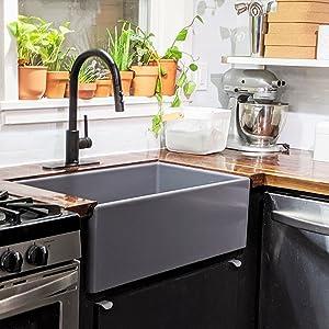 austen fireclay kitchen sink, bradstreet II, matte white kitchen sink, fireclay kitchen sink